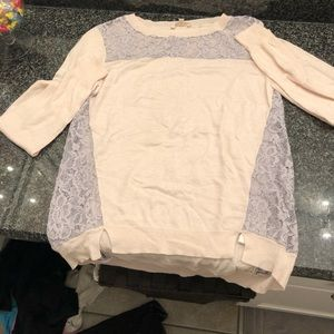Rebecca Taylor pink and purple lace sweater